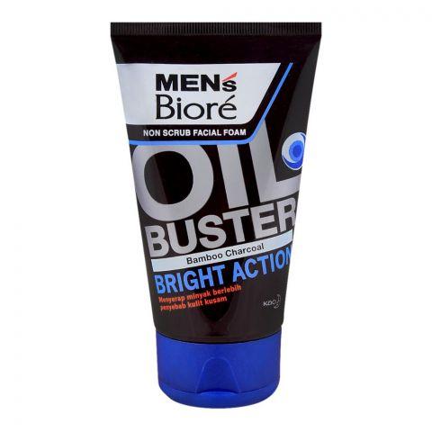 Biore Men's Oil Buster Bamboo Charcoal Non Scrub Facial Foam, 100g