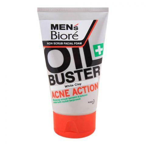 Biore Men's Oil Buster White Clay Non Scrub Facial Foam, 100g