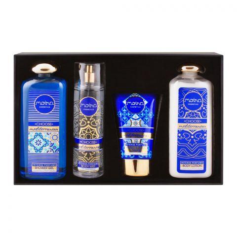 Moira Cosmetics Choose Mediterranean Gift Set, Body Mist + Shower Gel + Hand & Body Cream + Body Lotion