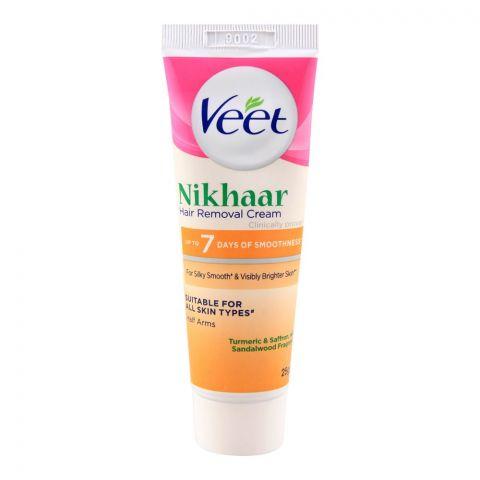 Veet Nikhaar Hair Removal Cream, Half Arms, Turmeric & Saffron, All Skin Types, 25g