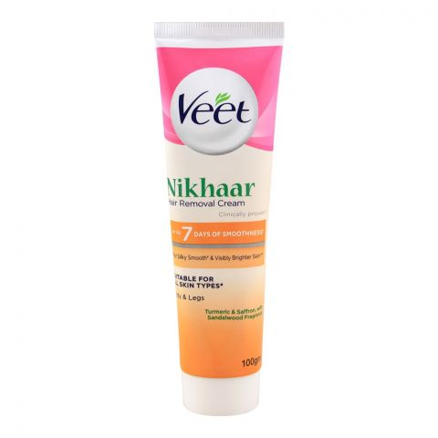 Veet Nikhaar Hair Removal Cream, Half Arms, Turmeric & Saffron, All Skin Types, 100g