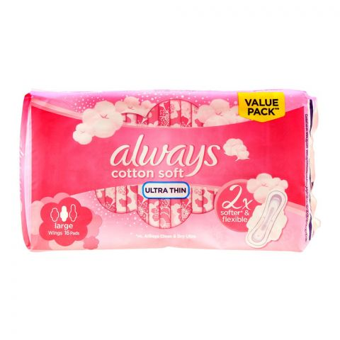 Always Cotton Soft Ultra Thin Large Wings Pads, 16 Pads Value Pack
