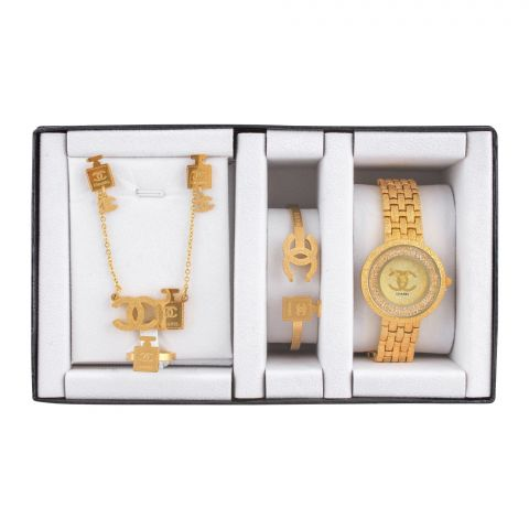 Channel Style Girls Watch & Jewellery Gift Set, NS-0152