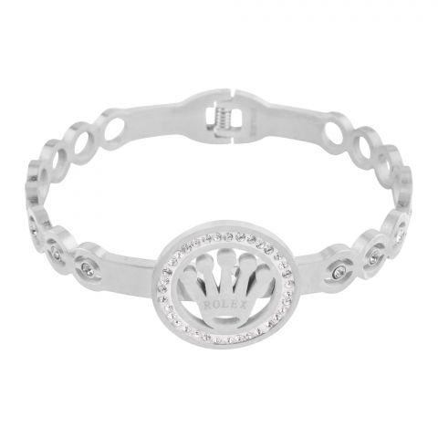 Rolex Style Girls Bracelet, Silver, NS-0163