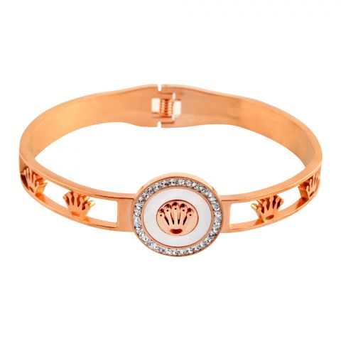 Rolex Style Girls Bracelet, Rose Gold, NS-0175