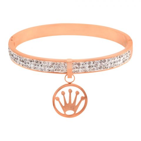 Rolex Style Girls Bracelet, Rose Gold, NS-0179