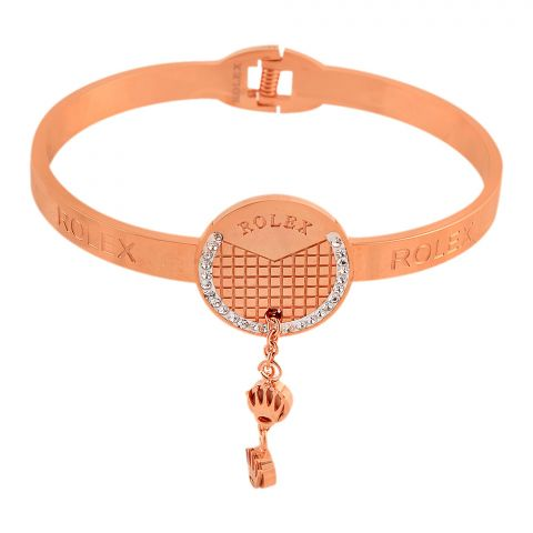 Rolex Style Girls Bracelet, Rose Gold, NS-0181