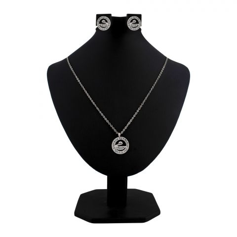 Swarovski Style Girls Locket & Earrings Set, Silver, NS-0187
