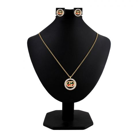 Gucci Style Girls Locket & Earrings Set, Golden, NS-0190