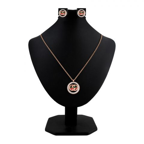 Gucci Style Girls Locket & Earrings Set, Rose Gold, NS-0190