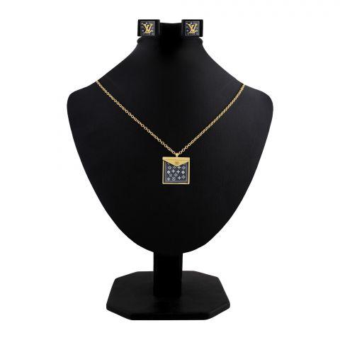 LV Style Girls Locket & Earrings Set, Golden, NS-0191