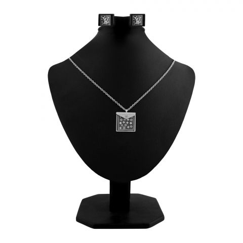 LV Style Girls Locket & Earrings Set, Silver, NS-0191