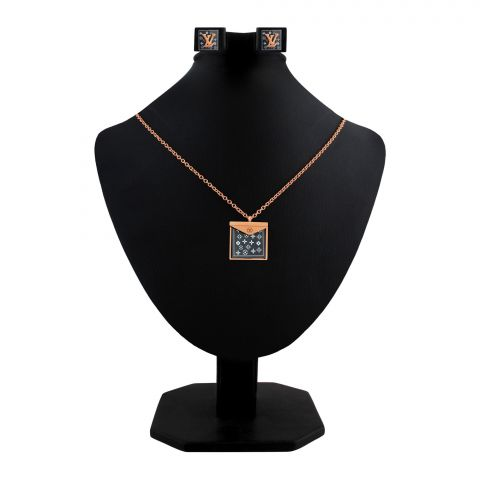 LV Style Girls Locket & Earrings Set, Rose Gold, NS-0191