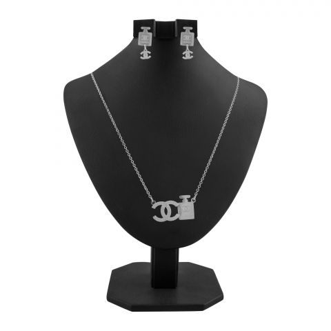 Channel Style Girls Locket & Earrings Set, Silver, NS-0192