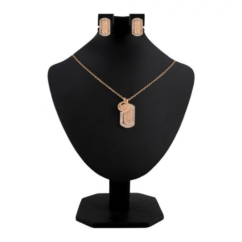 MK Style Girls Locket & Earrings Set, Rose Gold, NS-0193
