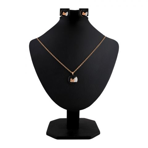 Swarovski Style Girls Locket & Earrings Set, Rose Gold, NS-0195