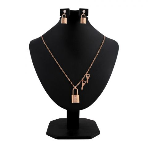 LV Style Girls Locket & Earrings Set, Rose Gold, NS-0196