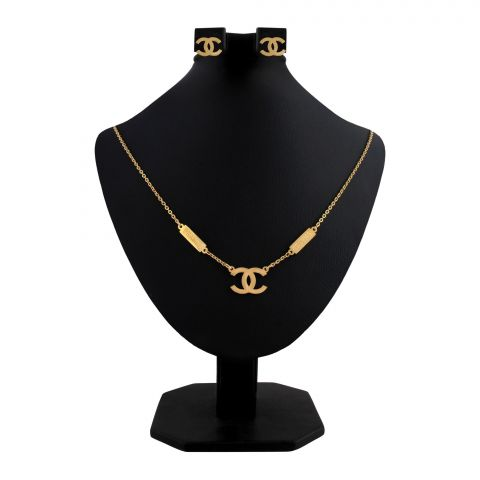 Channel Style Girls Locket & Earrings Set, Golden, NS-0197