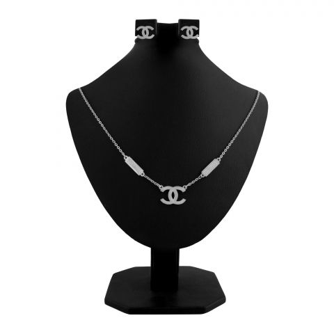 Channel Style Girls Locket & Earrings Set, Silver, NS-0197