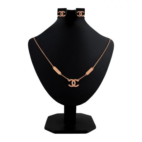 Channel Style Girls Locket & Earrings Set, Rose Gold, NS-0197
