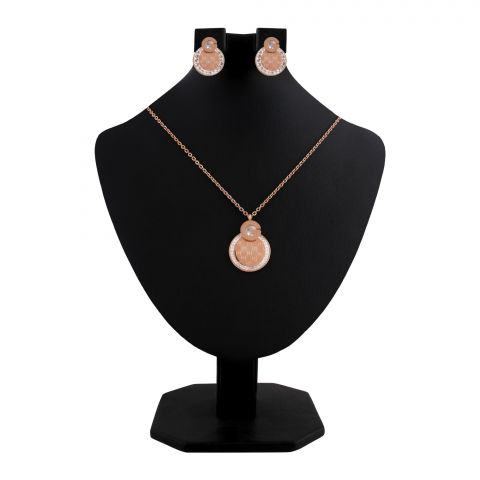 Gucci Style Girls Locket & Earrings Set, Rose Gold, NS-0198