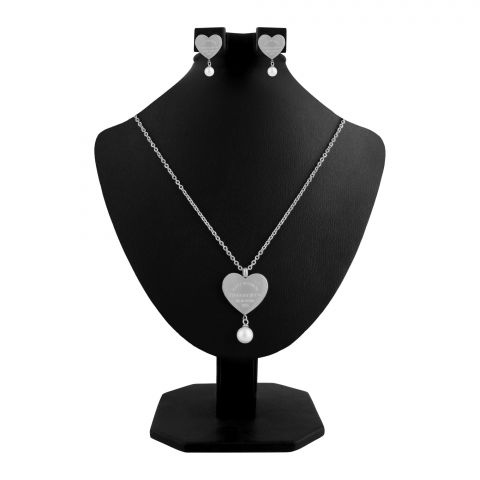 Tiffany Style Girls Locket & Earrings Set, Silver, NS-0199