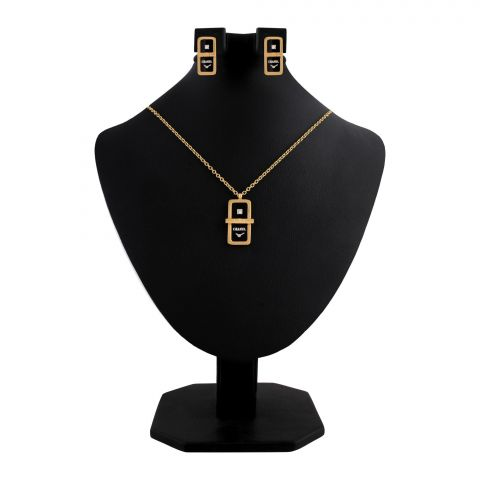 Channel Style Girls Locket & Earrings Set, Golden, NS-0200