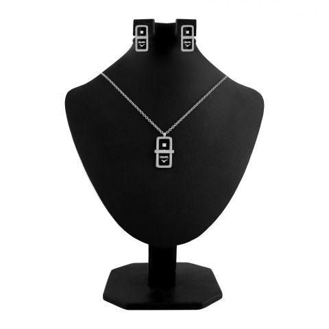 Channel Style Girls Locket & Earrings Set, Silver, NS-0200