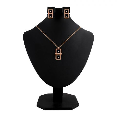 Channel Style Girls Locket & Earrings Set, Rose Gold, NS-0200