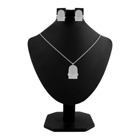 CK Style Girls Locket & Earrings Set, Silver, NS-0201