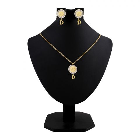 Dior Style Girls Locket & Earrings Set, Golden, NS-0202