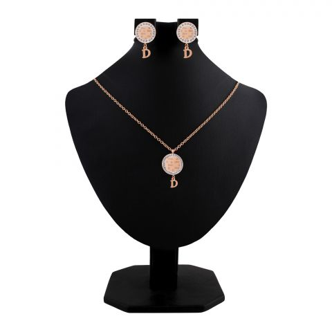 Dior Style Girls Locket & Earrings Set, Rose Gold, NS-0202
