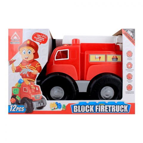 Live Long Block Fire Truck, 12 Pieces, 1531-4-D