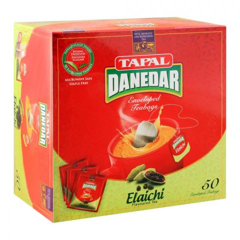 Tapal Danedar Enveloped Tea Bags Elaichi, 50-Pack