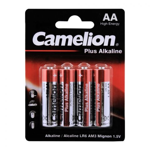 Camelion Plus Alkaline AA Batteries, 4-Pack, LR6-BP4