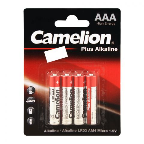 Camelion Plus Alkaline AAA Battery, 4-Pack, LR03-BP4