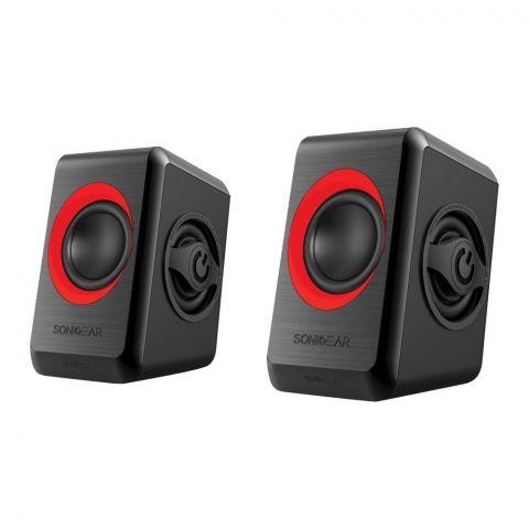 SonicEar Quatro 2 2.0 USB Speaker, Red