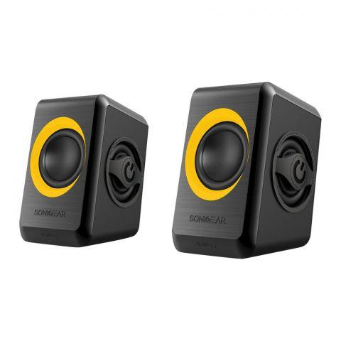 SonicEar Quatro 2 2.0 USB Speaker, Sunny Orange