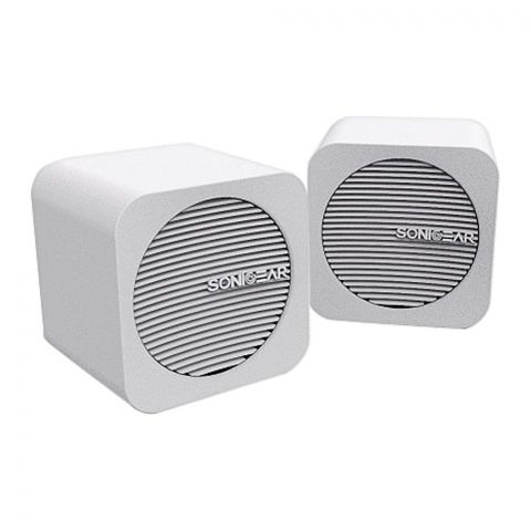 SonicEar Blue Cube USB/Bluetooth Speakers, White