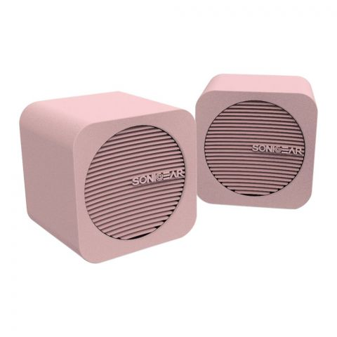 SonicEar Blue Cube USB/Bluetooth Speakers, Peach