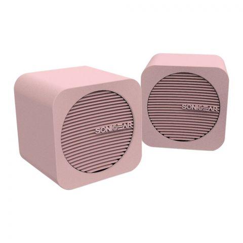 SonicEar Blue Cube USB Speakers, Peach