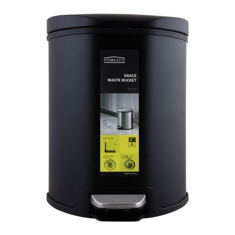 Homeatic Grace Pedal Bin, Soft Close, 5 Liters, Black, EK-9209-5