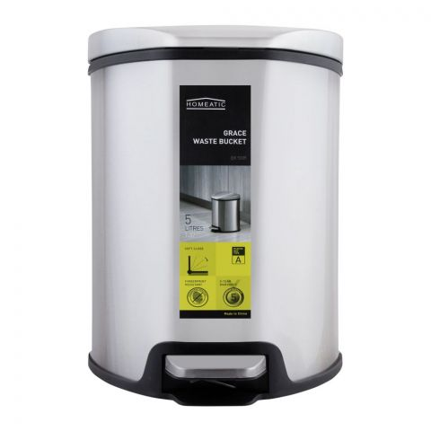 Homeatic Grace Pedal Bin, Soft Close, 5 Liters, Silver, EK-9209-5