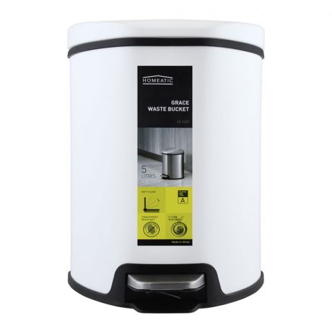 Homeatic Grace Pedal Bin, Soft Close, 5 Liters, White, EK-9209-5