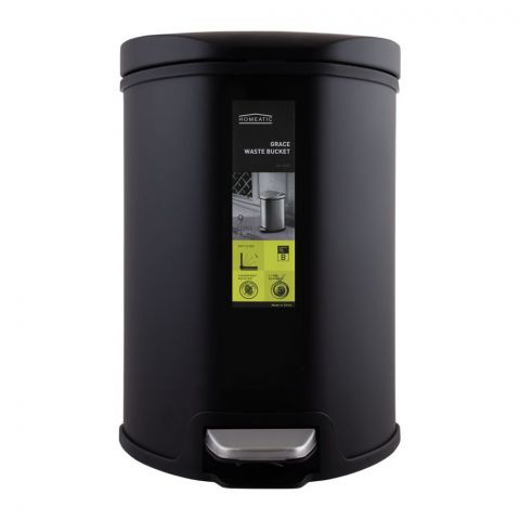 Homeatic Grace Pedal Bin, Soft Close, 9 Liters, Black, Ek-9209-9