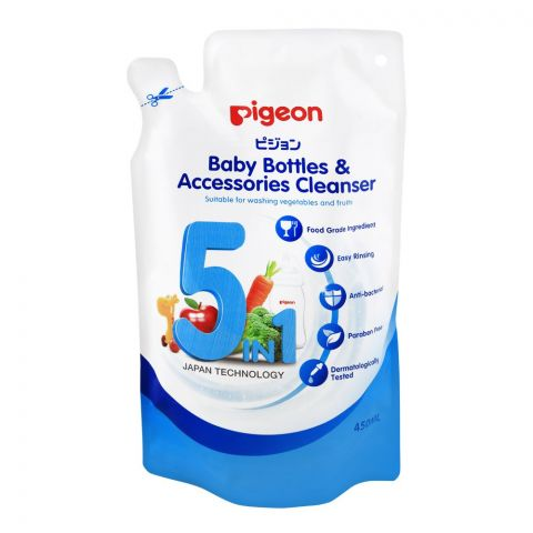 Pigeon 5-In-1 Baby Bottle & Accessories Cleanser, 450ml, Paraben Free, M78014