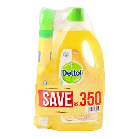 Dettol Multi Surface Cleaner, Citrus, 2x 1 Litre, + FREE All Purpose Cleaner, Save Rs. 350