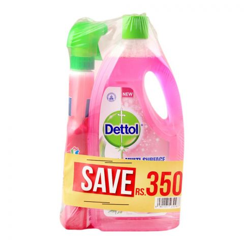 Dettol Multi Surface Cleaner, Rose, 2x 1 Litre, + FREE All Purpose Cleaner, Save Rs. 350