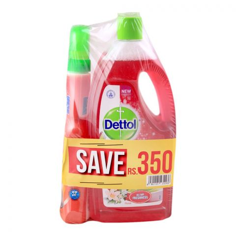 Dettol Multi Surface Cleaner, Floral, 2x 1 Litre, + FREE Kitchen Cleaner, Save Rs. 350