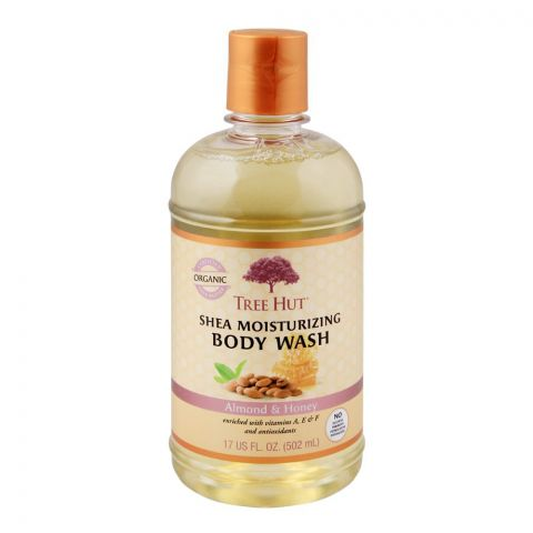 Tree Hut Shea Organic Moisturizing Body Wash, Almond & Honey, 502ml